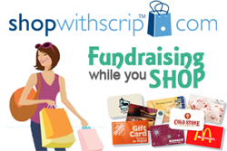 Graphic of Woman with shopping bag next to multiple gift cards with text saying shopwithscrip.com, Fundraising while you shop